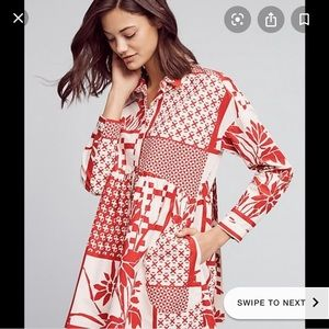 Anthropologie Printmaker Poplin Shirtdress LARGE